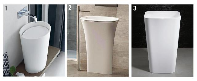 Le nostre scelte 1. Da terra, il lavabo ovale monoblocco Macho di Arcom Bagno è in Teknorit bianco opaco, inserito in due piani top in legno. Misura L 48,3 x H 7 cm e costa 1.833 euro. 2. È ovale il lavabo in ceramica Amedeo, coll. Karim di Ceramica Cielo. Con coperchio, misura L 65 x P 45 x H 90 cm e, in bianco, costa 1.706 euro, Iva esclusa. 3. È in acciaio verniciato il lavabo freestanding Meisterstück Emerso di Kaldewei con profili inclinati. Misura L 52 x P 42 cm e costa 1.971 euro Iva esclusa.