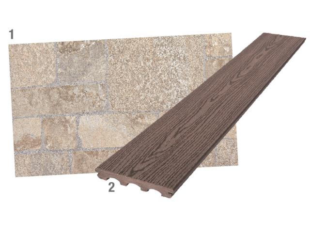 1. in gres porcellanato per esterni, il rivestimento Gubbio di Iperceramica (www.iperceramica.it) ha effetto pietra e misura 30 x 60,4 cm, sp. 8,2 mm. Al mq costa 9,99 euro. 2. Il listone in legno composito per i pavimenti di terrazzi e giardini si fissa con clip. Di Leroy Merlin (www.leroymerlin.it), misura 15 x 300 cm, sp. 2,1 cm e al mq costa 31 euro.