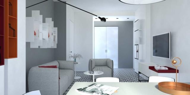 Progetto in 3D per arredare il soggiorno rettangolare di dimensioni contenute