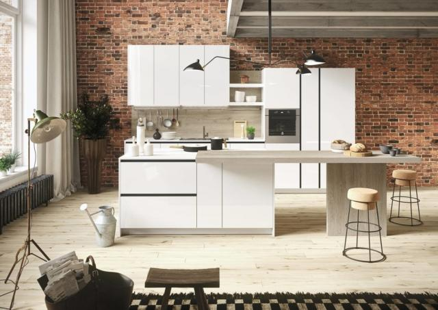 snaidero First-bianco-gesso-2 cucina con bancone