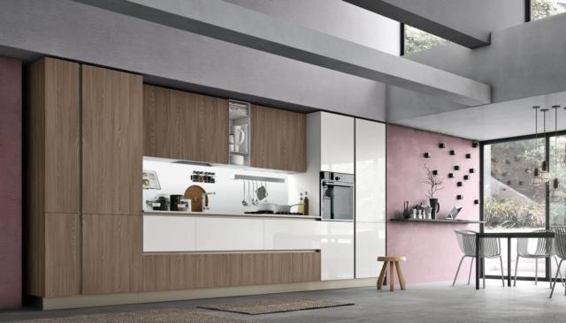 Infinity Diagonal di Stosa cucina con frigorifero incassato