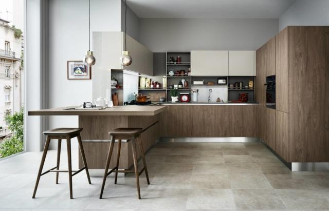 Ethica Decorativo  di Veneta Cucine con frigorifero incassato