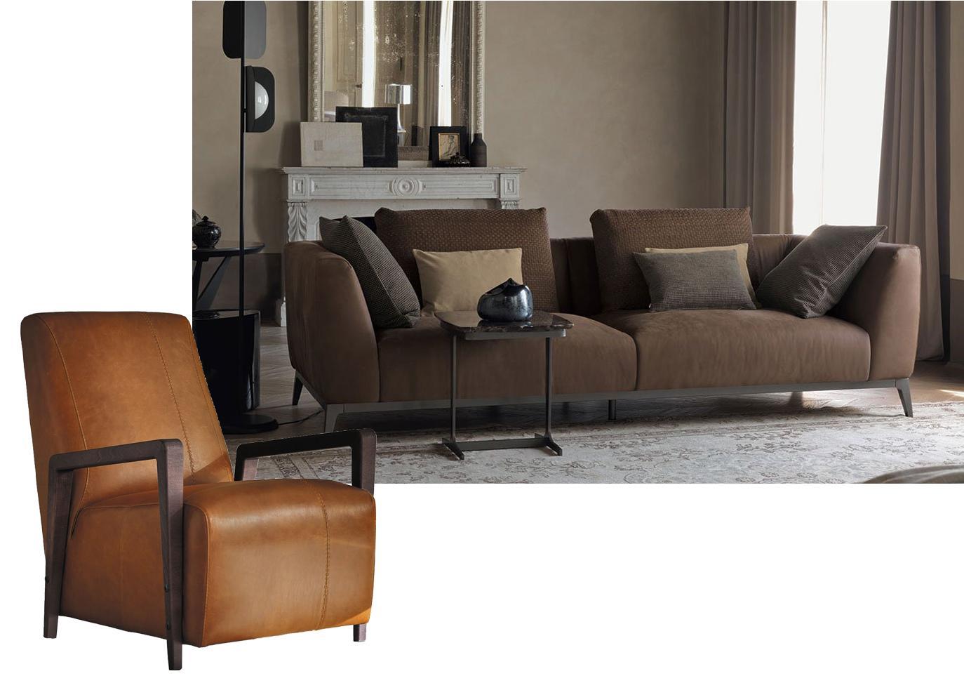 Cuscini Su Divano Marrone divano e poltrona da abbinare per un soggiorno più comodo