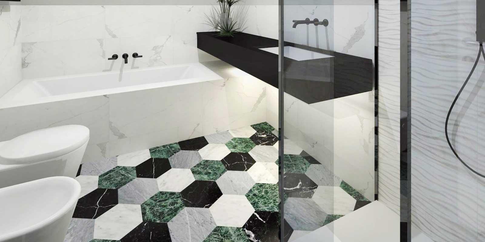 Bagno in 6 5 mq via libera ai decori progetto in 3d cose di casa - Bagno rettangolare progetto ...