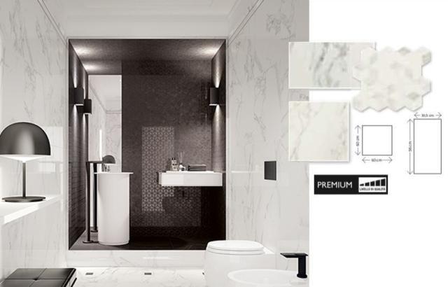 MURANO € 26,90/m2 Riv.: 81253665/81253670. Dim.: 30,5x56 cm. Materiale: monocottura pasta bianca. Per rivestimento. Sp.: 8,5 mm. Bordo: rettificato. Confezione da 1,54 m2. https://www.leroymerlin.it/catalogo/piastrella-murano-305-x-56-cm-bianco-81253665-p https://www.leroymerlin.it/catalogo/mosaico-murano-26-x-28-cm-bianco-81253670-p Pav. coordinato: 81254268. Dim.: 60x60 cm. Materiale: gres porcellanato colorato in massa. Sp.: 9 mm. Bordo: rettificato. *PEI: 4. Confezione da 1,08 m2. https://www.leroymerlin.it/catalogo/piastrella-murano-60-x-60-cm-bianco-81254268-p