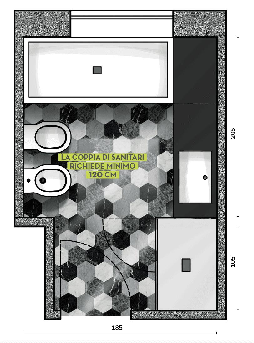 Progetto Bagno 3 Mq bagno: in 6,5 mq, via libera ai decori. progetto in 3d