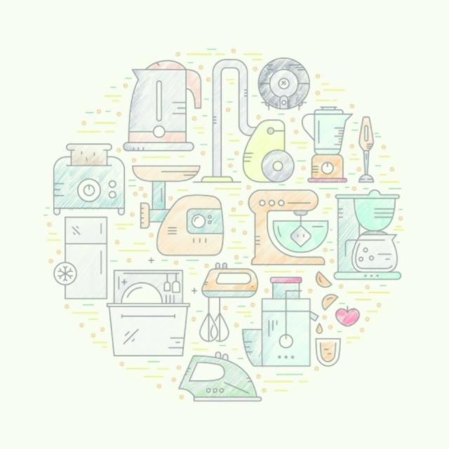 Vector illustration with house appliances arranged in a circle. Kitchen gear and house technology. Vector line style elements for shop, advertising, banner or flyer.