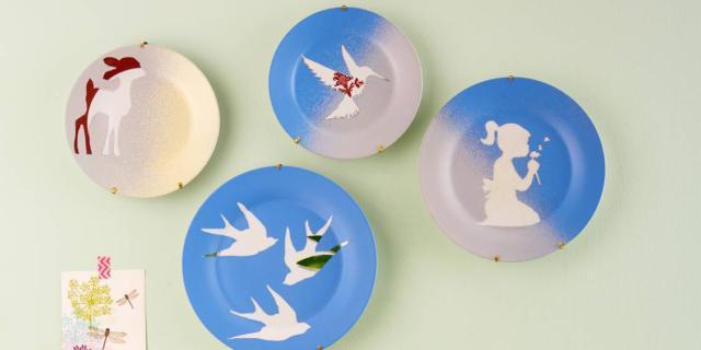 decorare vecchi piatti