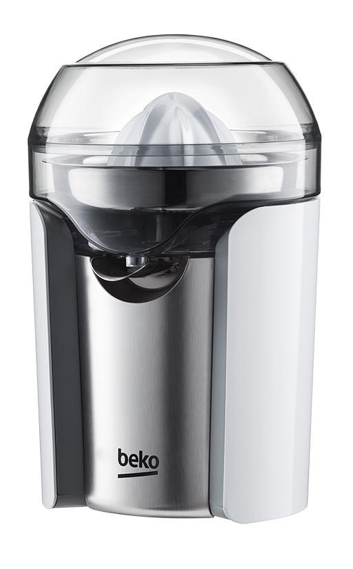 Grazie alla rotazione bi-direzionale, lo spremiagrumi CJB6100W di Beko permette una perfetta estrazione del succo. E' fornito con due coni intercambiabili (uno grande per arance e pompelmi, l'altro piccolo per limoni, lime e mandarini) e ha il beccuccio richiudibile, inoltre, riducono al minimo gli sprechi. Ha potenza di 100 watt e capacità di 500 ml. Misura L 17,7 x P 16,2 x H 24,5 cm. Prezzo 39,99 euro. www.beko.it