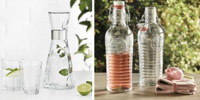 Bottiglie di vetro e caraffe per acqua e bevande