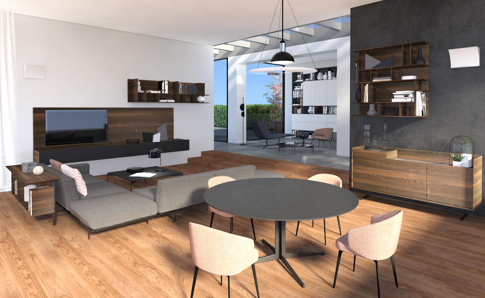 Arredare il soggiorno: progetto in 3D per l'open space ...