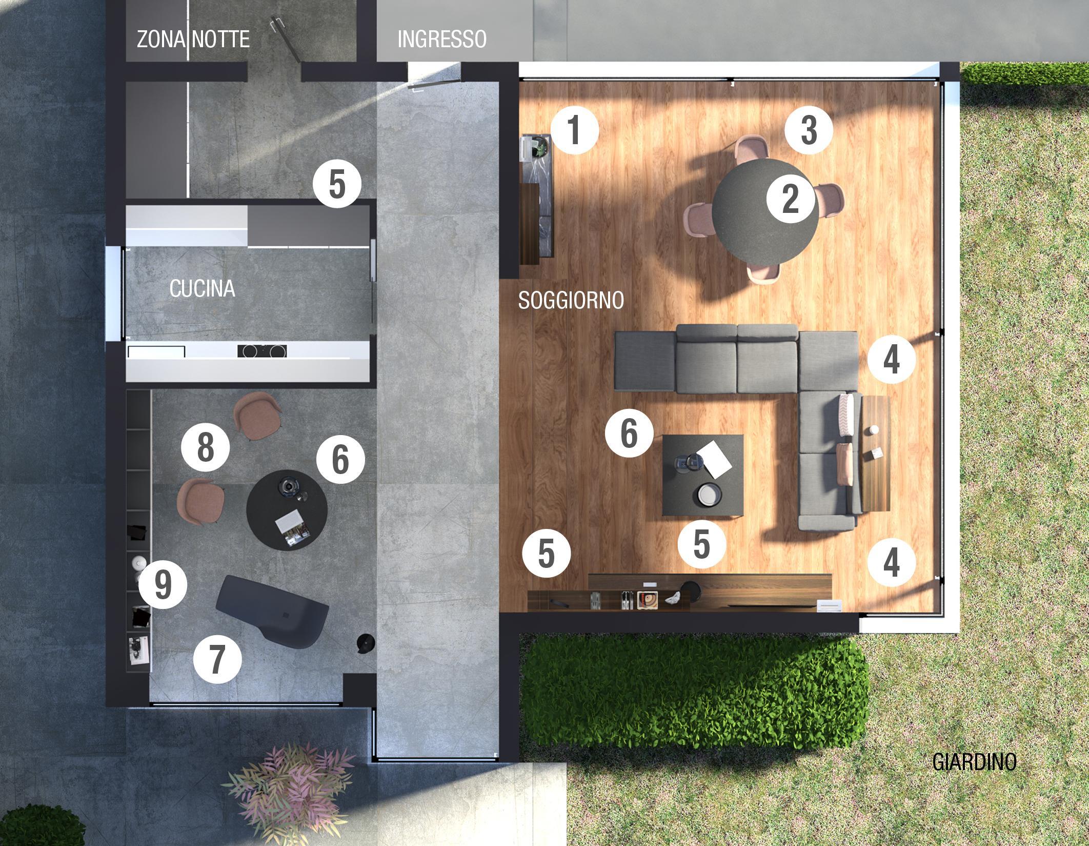 Arredare il soggiorno progetto in 3d per l 39 open space for Arredare 3d
