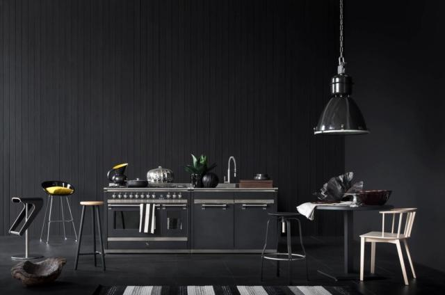 steel +ASCOT 120 ISOLA ANTRACITE cucine in black