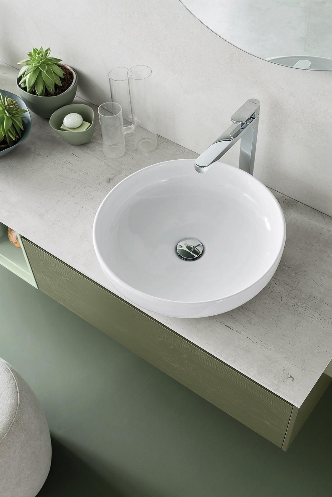 Lavello Bagno Da Appoggio lavabo rotondo da appoggio su un mobile bagno o su un top