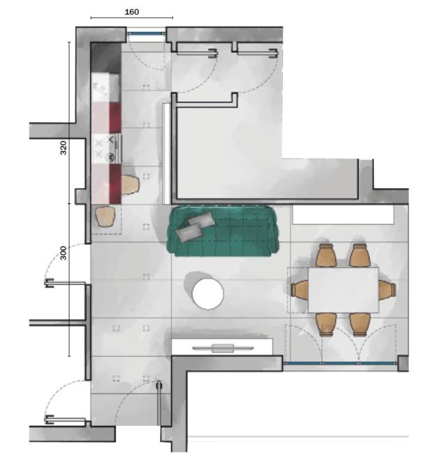 Cucine difficili, soluzione n. 1: area operativa di 5,12 mq e living di 21,04 mq