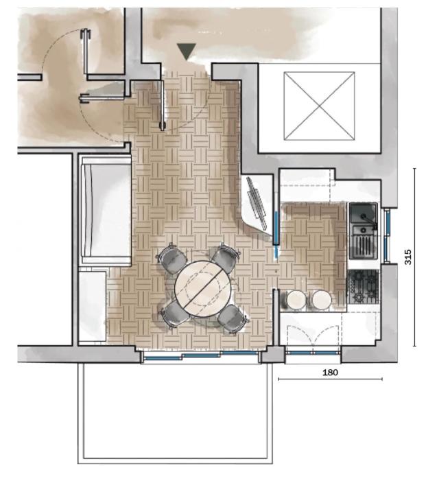 Cucine difficili, soluzione 3: zona operativa di 5,51 mq + soggiorno di 14,21 mq