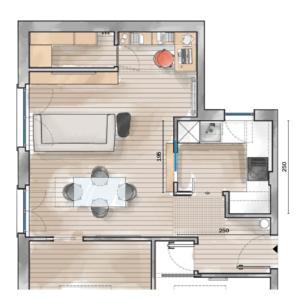 Cucine difficili, soluzione n. 2: zona operativa di 5,47 mq + soggiorno di 24,34 mq