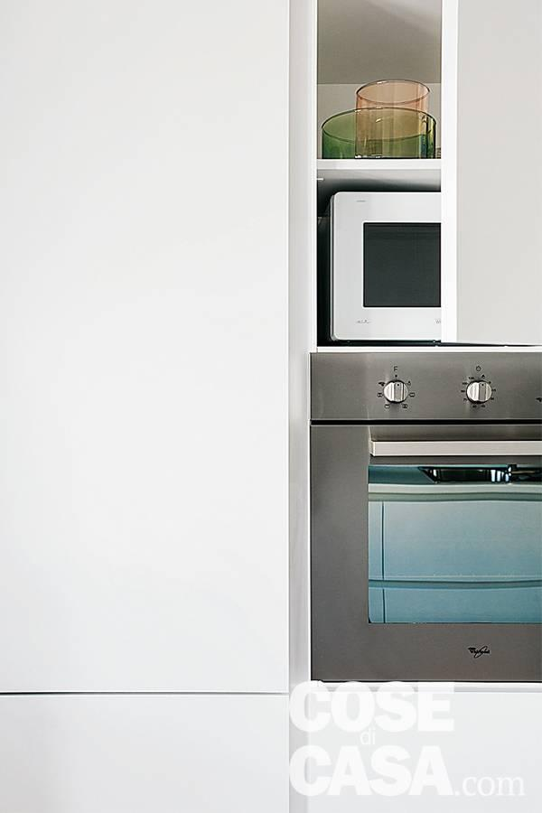 cucina laccato bianco opaco, colonna forno, multifunzione e micrronde