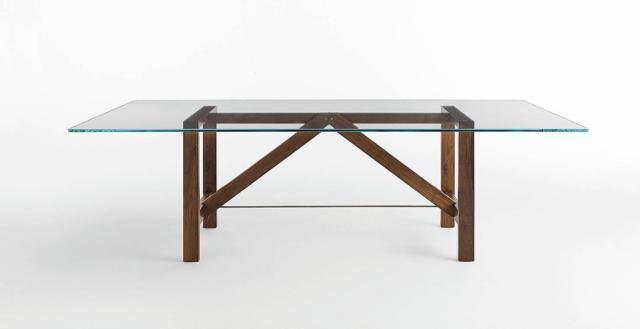 tavolo rettangolare Capriata di Horm con top in vetro  fumé