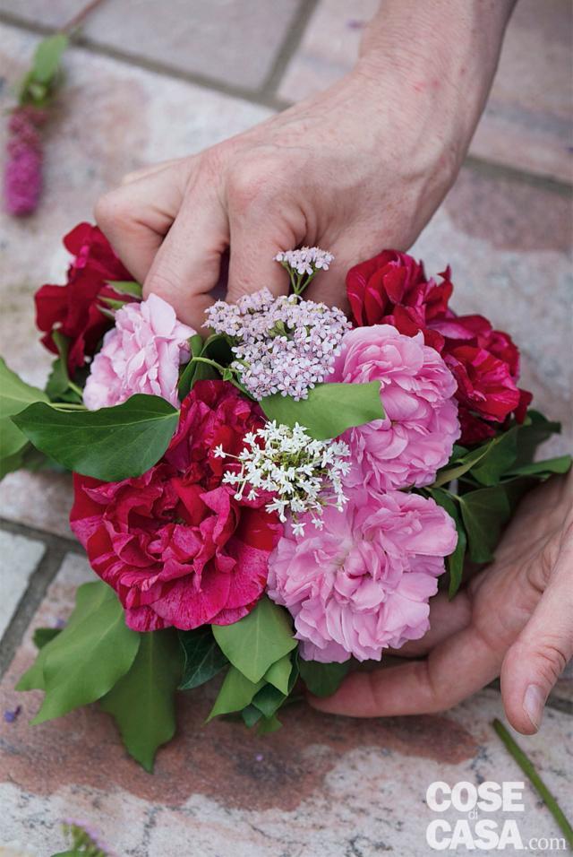 5. Completare inserendo Centranthus e Achillea negli spazi vuoti, lasciandoli leggermente rialzati rispetto alle rose e cercando di distribuire colori e forme.