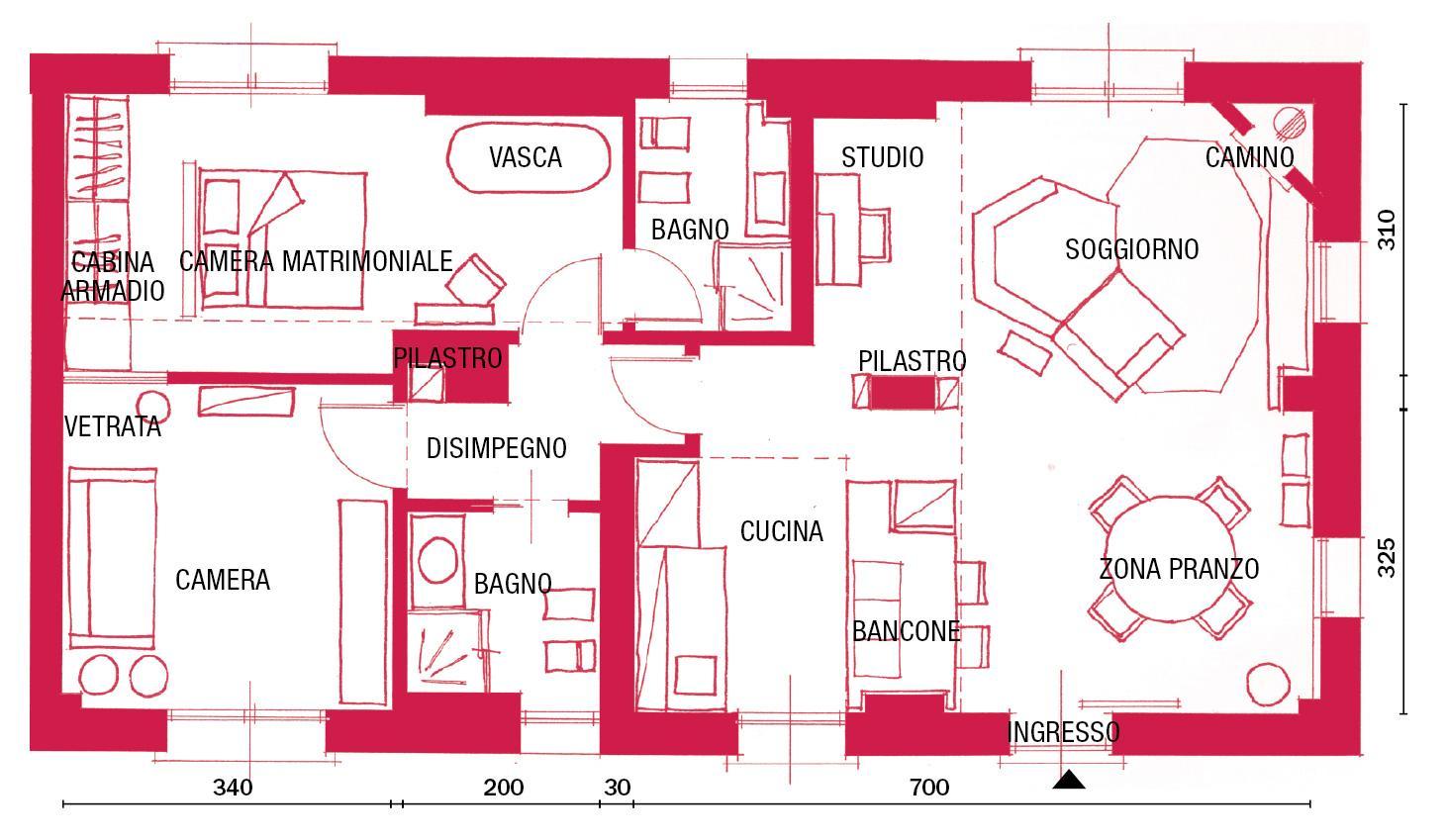 Progetto Appartamento 85 Mq nuovo trilocale di 85 mq a colori orientali - cose di casa