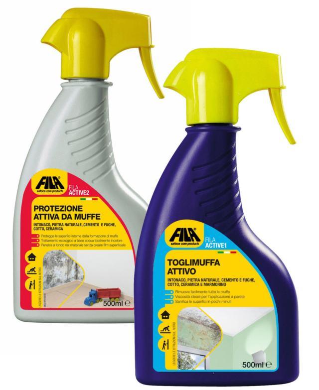 Active 1 e 2 di Fila sono prodotti adatti a togliere la muffa e a prevenirne la formazione su tutte le superfici. Sono disponibili in confezioni spray da 500 ml. Prezzo da rivenditore. www.filachim.it