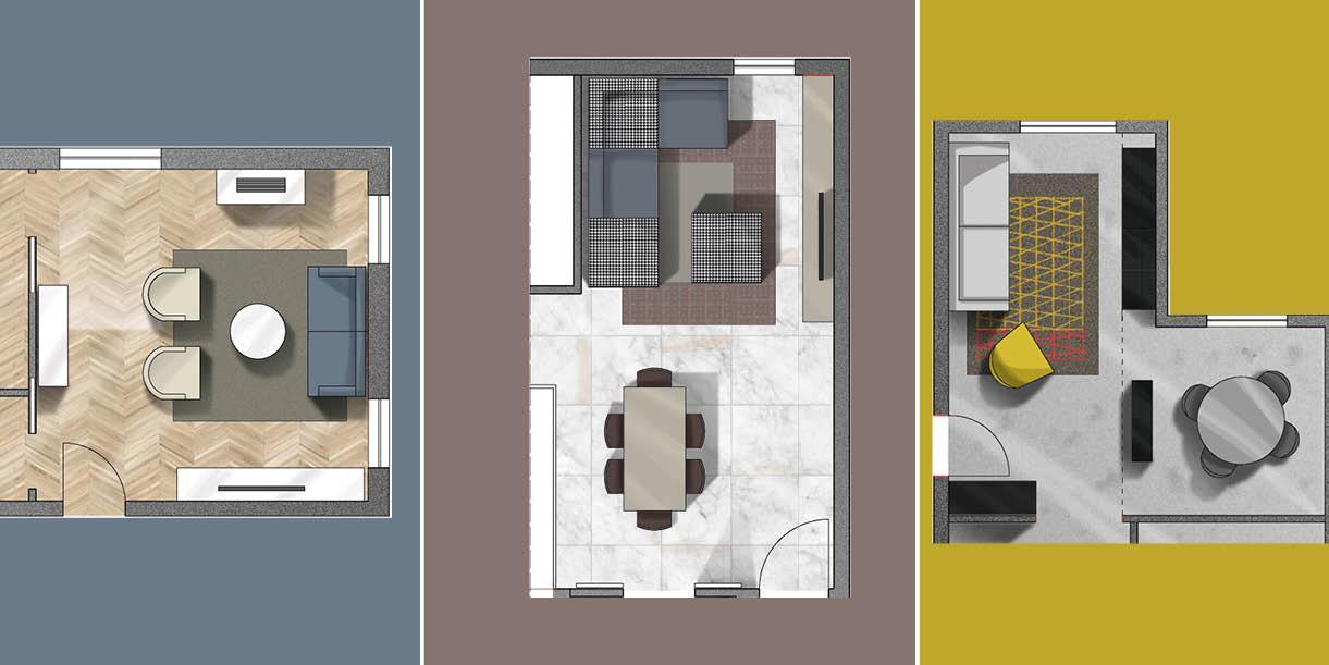 Soggiorno quadrato rettangolare o a l come arredarli for Oggettistica design moderno