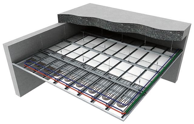 Sistema a soffitto CD-4 di Chemidro by Wavin per riscaldamento ad acqua