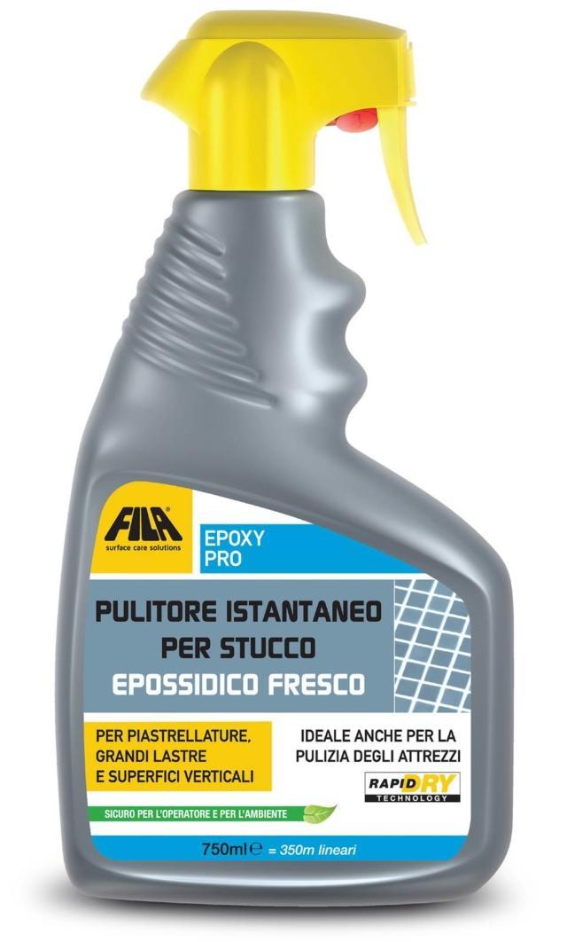 Epoxy Pro di Fila fa parte del kit Instant Solutions. Ad azione rapida, elimina i residui di stucco epossidico fresco. Usato durante la posa, non fa schiuma e non va risciacquato. È indicato per gres porcellanato, ceramica, mosaico vetroso e klinker smaltato. Tra i vantaggi, c'è anche quello di rispettare le fughe e di non rovinare i profili in alluminio e acciaio (per esempio del box doccia).