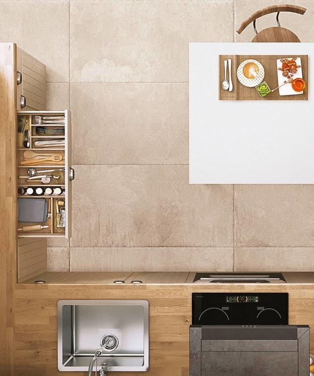 Scandinavian kitchen, top view