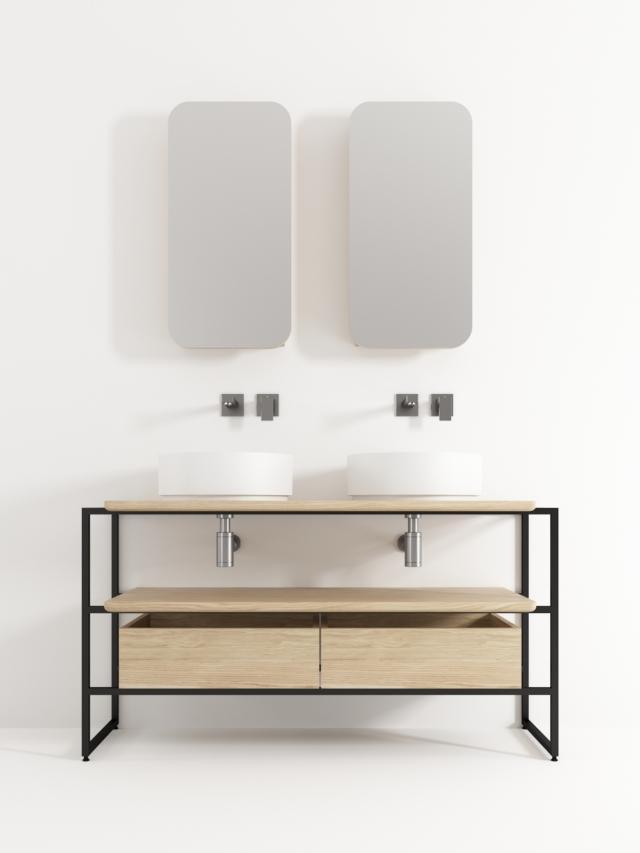 mobile lavabo naked di Idistudio in quercia naturale