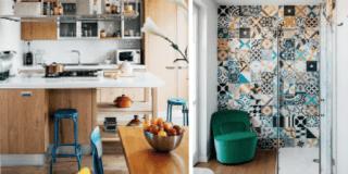 casa foto cucina con sedie colorate e bagno con cementine