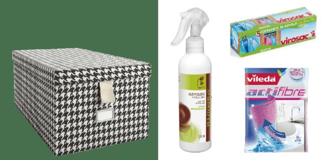 Cambio di stagione dell'armadio: tutto in ordine e pulito con scatole e sacchetti, panno in microfibra, spray antipolvere
