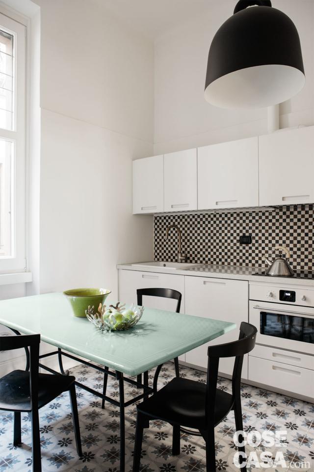 cucina-tavolo casa 37 mq con soppalco