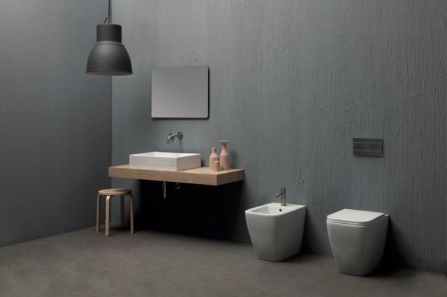 sanitari e lavabo collezione Quadra (design Luca Papini) di Esedra