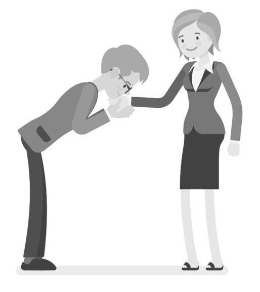 Baciamano: ricordate che le labbra non devono toccare il dorso della mano e la signora deve lasciare il polso morbido e non teso, a lama.