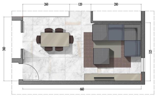 Il tavolo, collocato in asse con la porta della cucina, oltre a risultare in posizione strategica,  contribuisce a definire due corridoi di passaggio: uno dall'ingresso al salotto, l'altro verso la zona notte, di fianco alla vetrata. L'imbottito componibile addossato ai muri si rivela la scelta più appropriata per disporre del maggior numero di sedute e avere  agio al centro della stanza. Dove un pouf diventa, a piacere, un posto in più o un tavolino. Ancora una volta la soluzione della parete attrezzata si rivela risolutiva. L'utilizzo di un sistema modulare consente di sistemare dai libri ai servizi per la tavola e di aver un apposito spazio per gli apparecchi hi tech.