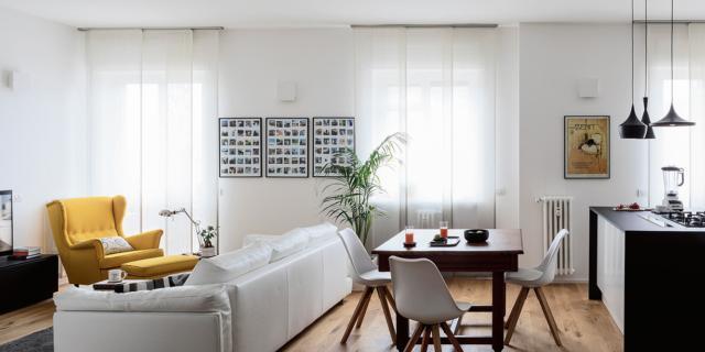 Open space per soggiorno cucina e zona pranzo