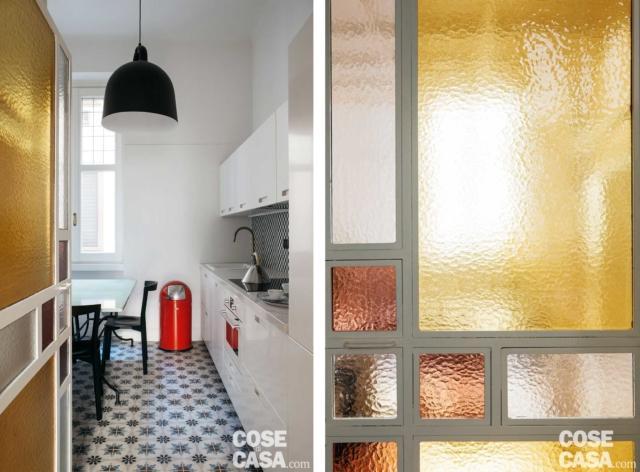 porta in vetro cucina casa 37 mq con soppalco