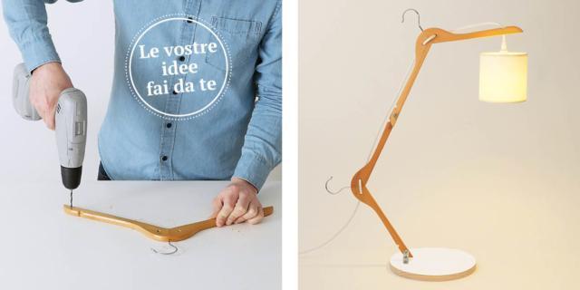 Come riciclare le vecchie grucce in legno e trasformarle in una lampada fai da te