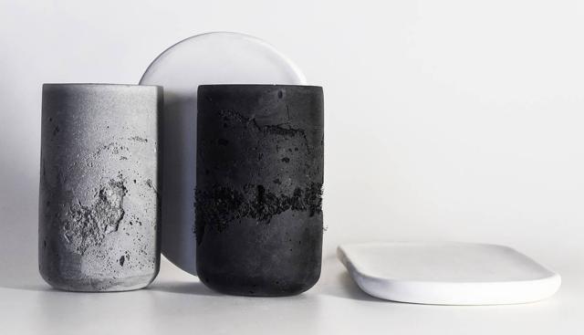 Perception, tazze in materiali riciclati (come denim, pelle, carta, gomma, vetro), Nöme - al Design Supermarket della Rinascente.