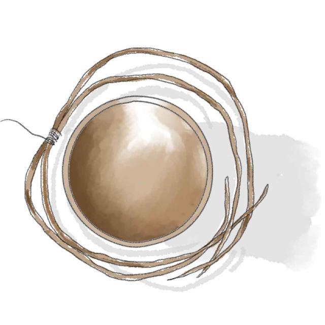 1 - I rami di salice dal diametro variabile tra i 3 e gli 8 mm, andranno reidrati in acqua per almeno 12 ore in modo da risultare, al momento del lavoro, flessibili e facilmente malleabili. Si leghino due rami tra loro nella parte mediana con un anello di fil di ferro non troppo stretto; s'inizino quindi a curvare le estremità dei salici le une sulle altre disegnando un cerchio intorno al vaso usato come sagoma.