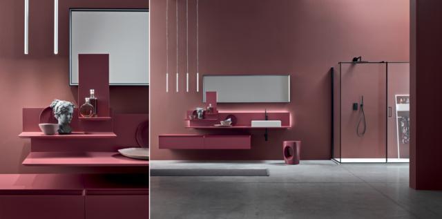 bagno tutto rosa parete e mobile bagno sospeso rosa Moov di Arcombagno