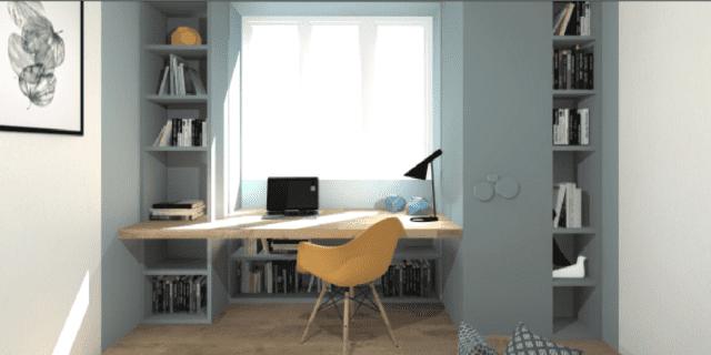 Sfruttare lo spazio intorno alla finestra con studio e libreria