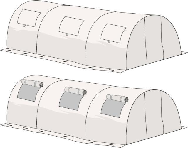Le aperture della serra a tunnel non dovrebbero essere collocate a livello del terreno, è auspicabile quindi realizzarle sulla parte superiore della struttura. Per aprirle basterà semplicemente rialzare, arrotolandoli su se stessi, i lembi delle finestrelle.