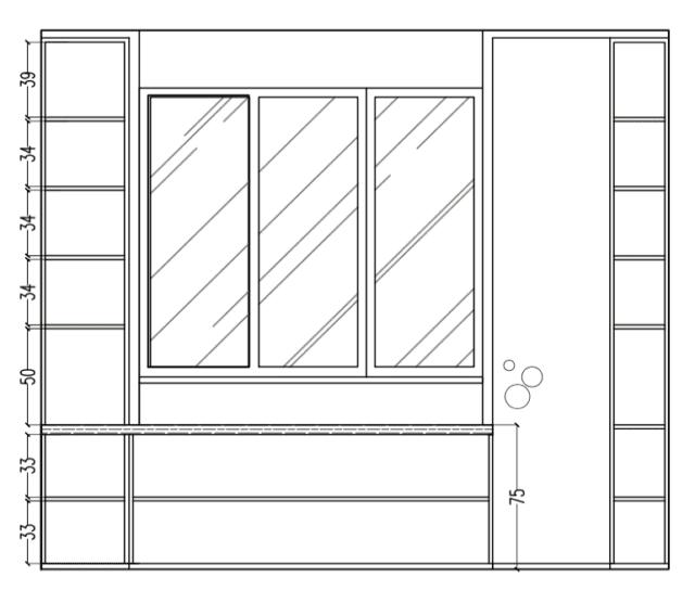 vista frontale camera sfruttare spazio intorno finestra