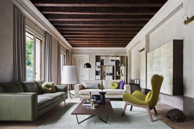 La poltrona Lazy di Calligaris, con base in legno di frassino nella finitura natural, è rivestita con tessuto Darya (100% Cotone) color giallo; misure L 89 x P 94 xH 100 cm (H seduta 42) ; prezzo 1.484 euro.