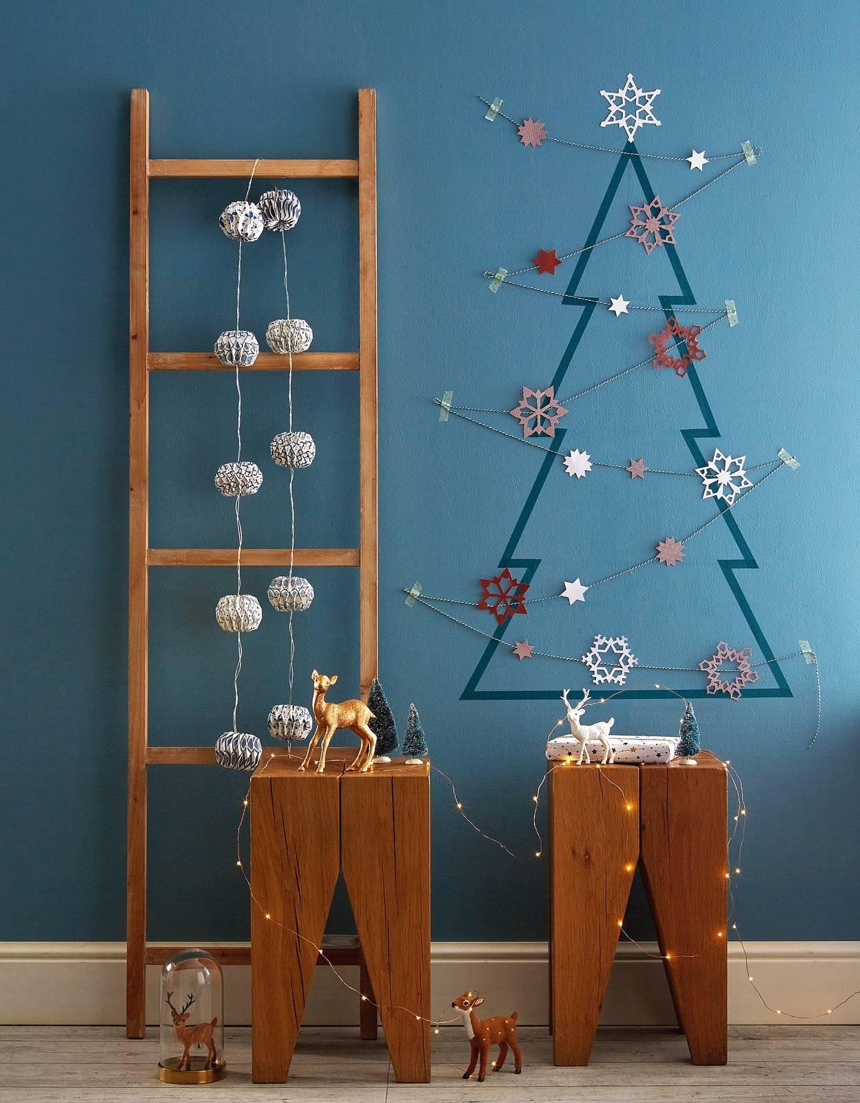 Albero Di Natale A Parete Nastro Adesivo Colorato Per Un Abete
