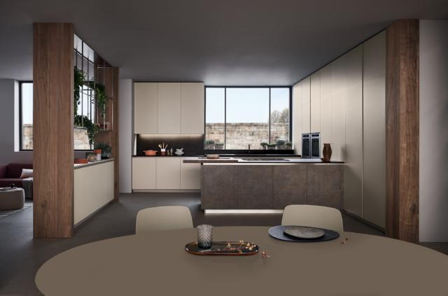 Cucina Lounge di Veneta Cucine, laccato Opaco Grigio Corda, Corten Rosso Dek, Noce Nodoso