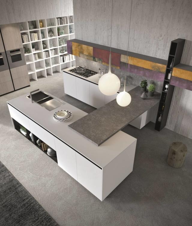 aran cucine_Lab13_Eclettico Style1 (5) cucina con piano effetto pietra- polimerico